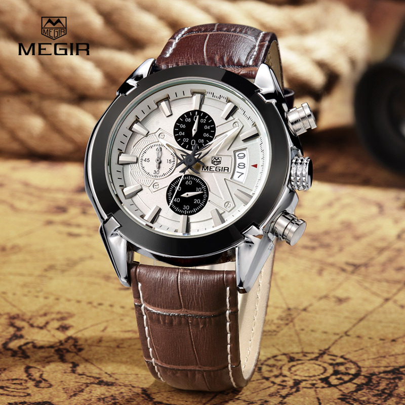 MEGIR fashion leather sports quartz watch for man military chronograph wrist watches men army style 2020 free shipping Mens Gift chronograph fashion leather sports quartz watch for man military wrist watches men army style free shipping