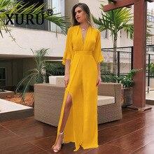 XURU summer new womens chiffon jumpsuit fashion V-neck sexy long solid color irregular split bohemian beach