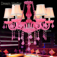 European Luxury Color Candle Pink Crystal Chandelier Bedroom Princess Restaurant Children Room Chandelier Postage Free