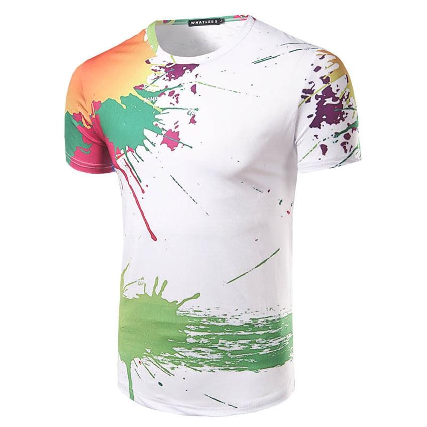 2017 fashion summer dress fashion splashed paint design 3d for T shirt design sleeve print