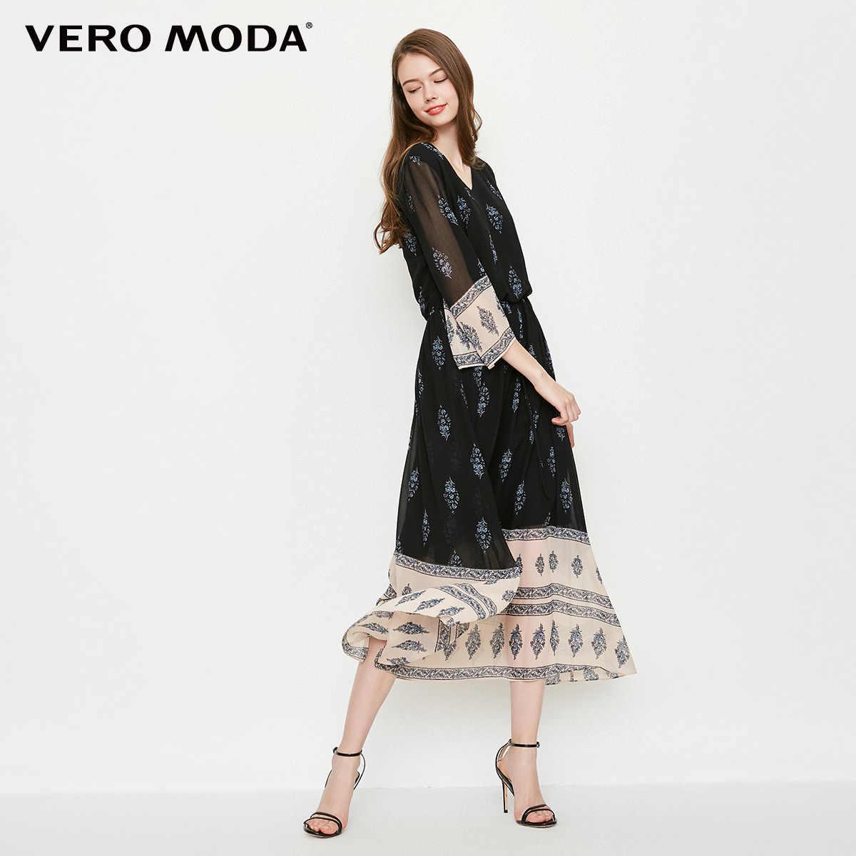 Vero Moda/Новинка 2019 года; платье с короткими рукавами и v-образным вырезом и принтом; 31827C522
