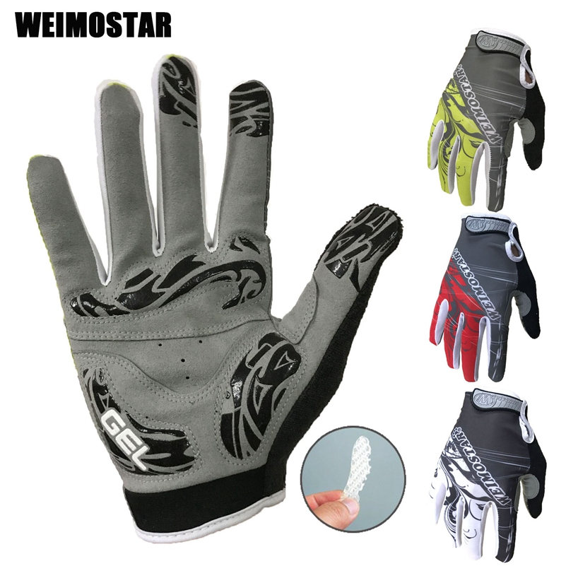 Weimostar long White Cycling Gloves Shockproof Gel padded Bike Glove Men Bicycle Full Finger Gloves Women MTB  Racing Gloves red