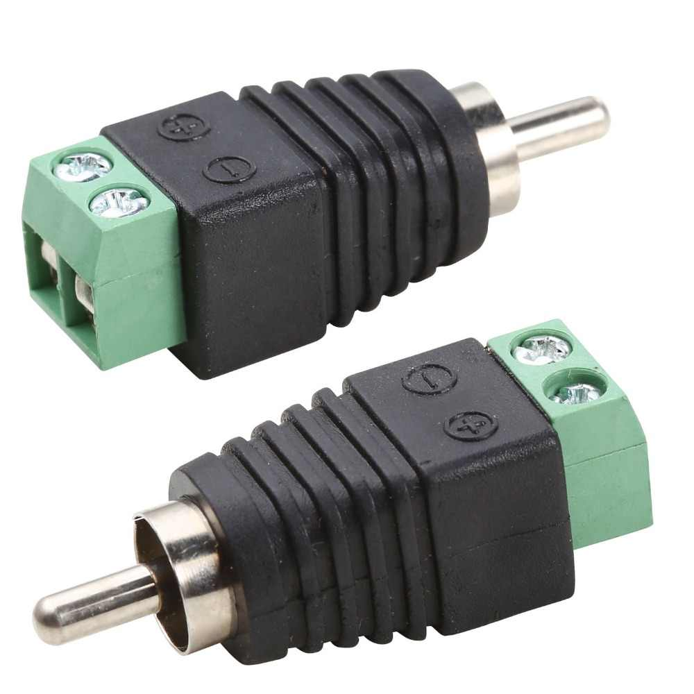 حار 2 قطعة فونو RCA ذكر التوصيل إلى AV المسمار محطة ل CCTV AV محول جاك Balun للكاميرا اكسسوارات DVR نظام الدائرة التلفزيونية المغلقة