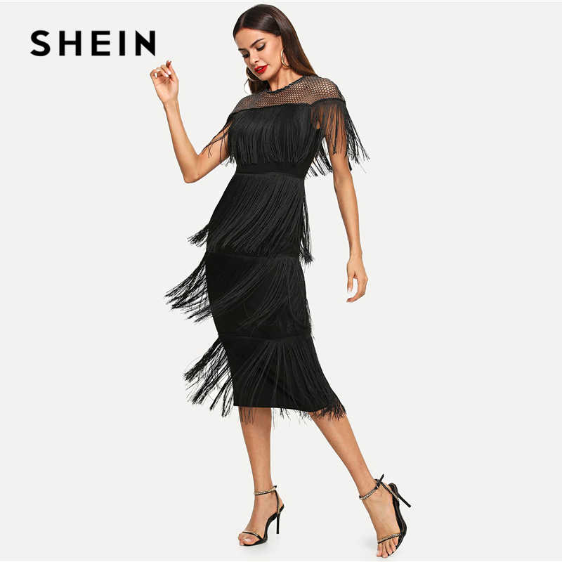 17e757aea0ab SHEIN Black Highstreet Party Going Out Elegant Sheer Yoke Layered Fringe  Detail Dress 2018 Autumn Modern