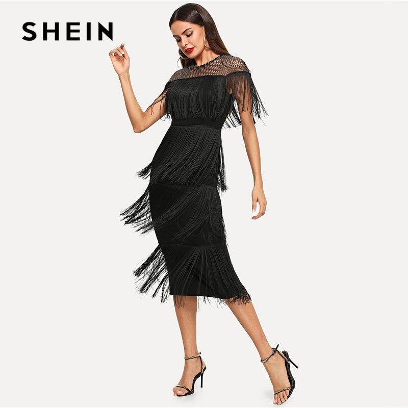SHEIN Black Highstreet Party Going Out Elegant Sheer Yoke Layered Fringe Detail Dress 2018 Autumn Modern Lady Women Dresses