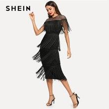 Shein 블랙 highstreet 파티 나가기 우아한 깎아 지른 멍에 계층화 된 프린지 세부 드레스 2018 가을 현대 레이디 여성 드레스