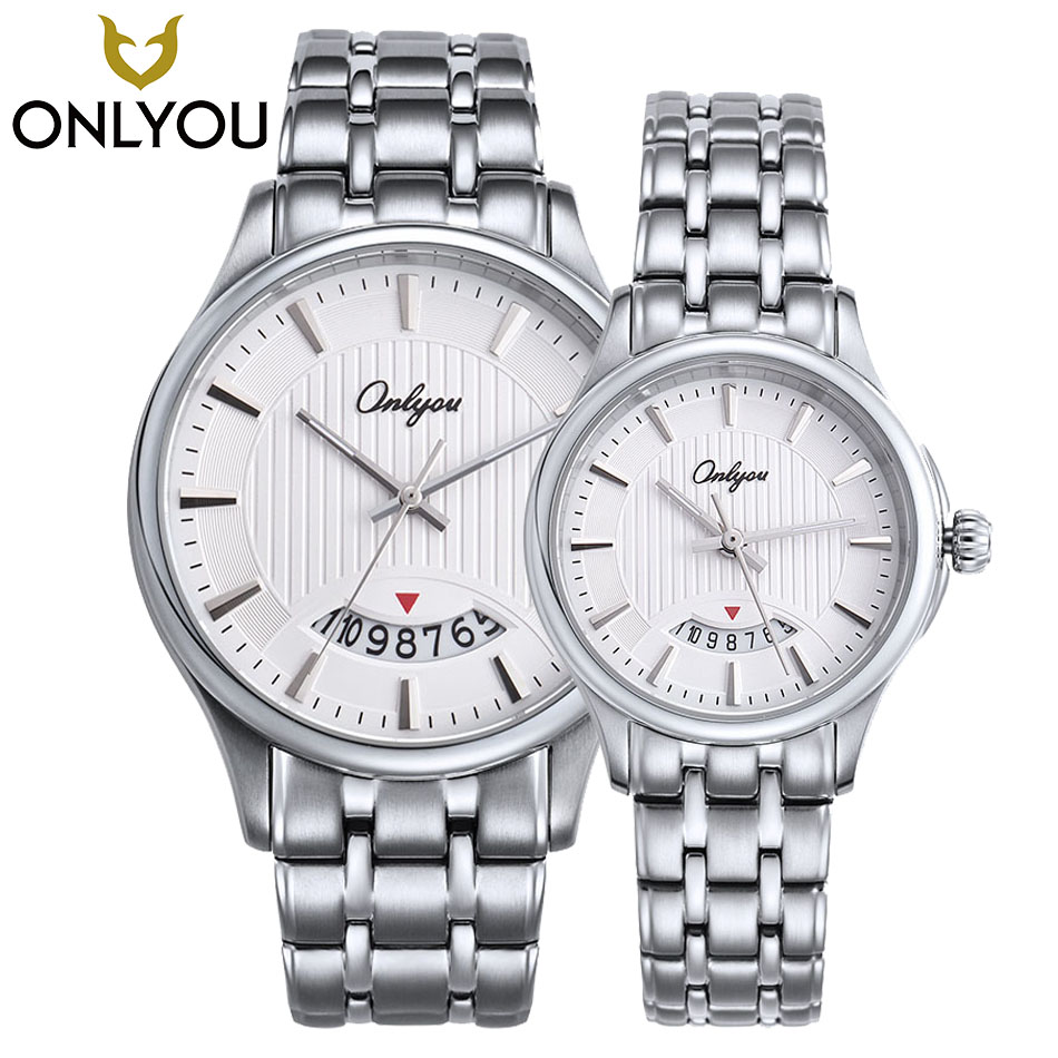 ONLYOU Top Luxury Brand Men Watch Waterproof Casual Ladies Wristwatches Couple Retro 22cm Gold Silver Steel Band Calendar Clock onlyou hot gold silver male watches woman watch quartz wristwatches 2017 top luxury brand stainless steel band couple gift clock