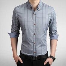 2016 New fashion brand men's apparel Slim plaid long-sleeved shirt cotton casual shirt business men the social code M-5XL