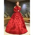 Honey Qiao Myriam Fares Красный Знаменитости Платья 2017 Бальное платье Аппликация с Длинным Рукавом Арабский Дубай Abiye Элегантные Вечерние Платья