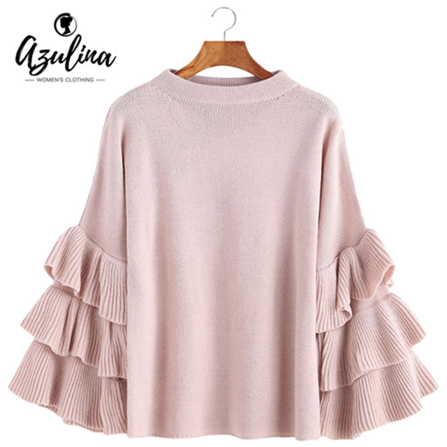 AZULINA Layered Sleeve Flouncy Knitted Pullover Sweater Women O Neck Ruffles Autumn Ladies Tops Sweet Loose Pull Femme Jumper