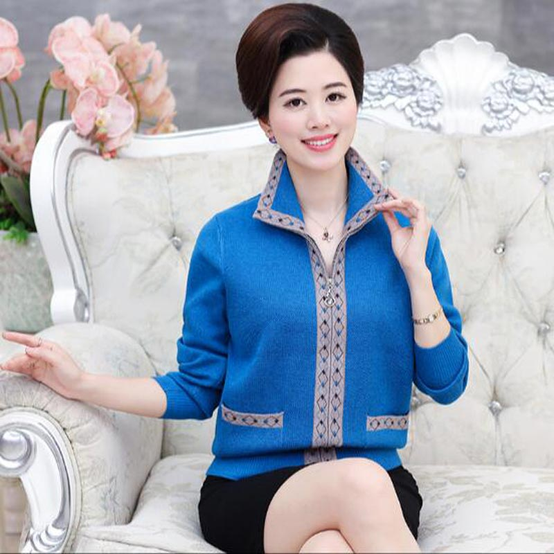 6a3032c31b4d Middle aged women mother fitted Spring and winter large size sweater  cardigan in the elderly thick sweater zipper jacket QH0406-in Cardigans  from Women's ...