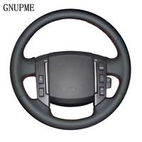 GNUPME DIY Genuine Leather Black Car Steering Wheel Cover for Land Rover Freelander 2 2007 2008 2009 2010 2011 2012 2018