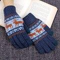 Зимние Перчатки Мужчины Полный Палец Руки Теплые Сенсорный Экран Gants мужской Вязать Шерстяные Толстые Варежки luvas де inverno Рождественский Олень B5975