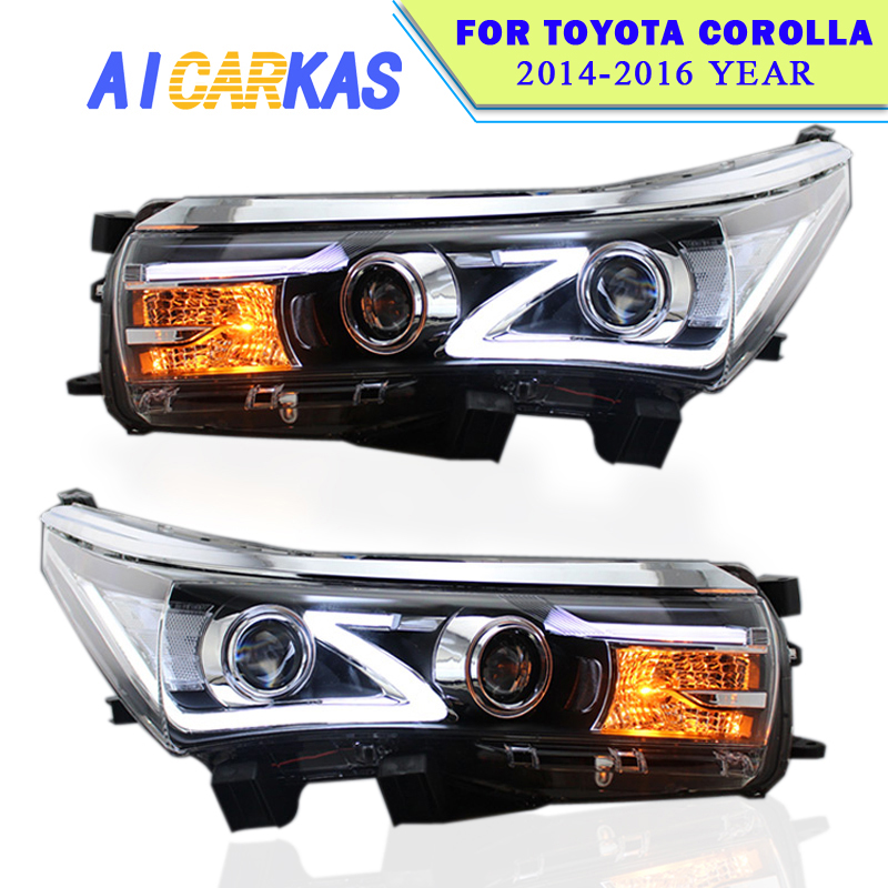 Car Light Assembly for Toyota Corolla 2014 2015 2016 Corolla LED Headlight Daytime Running Light Bi Xenon Lens High Low Beam kunfine pair of car tail light assembly for toyota corolla 2014 2015 2016 led brake light with turning signal light
