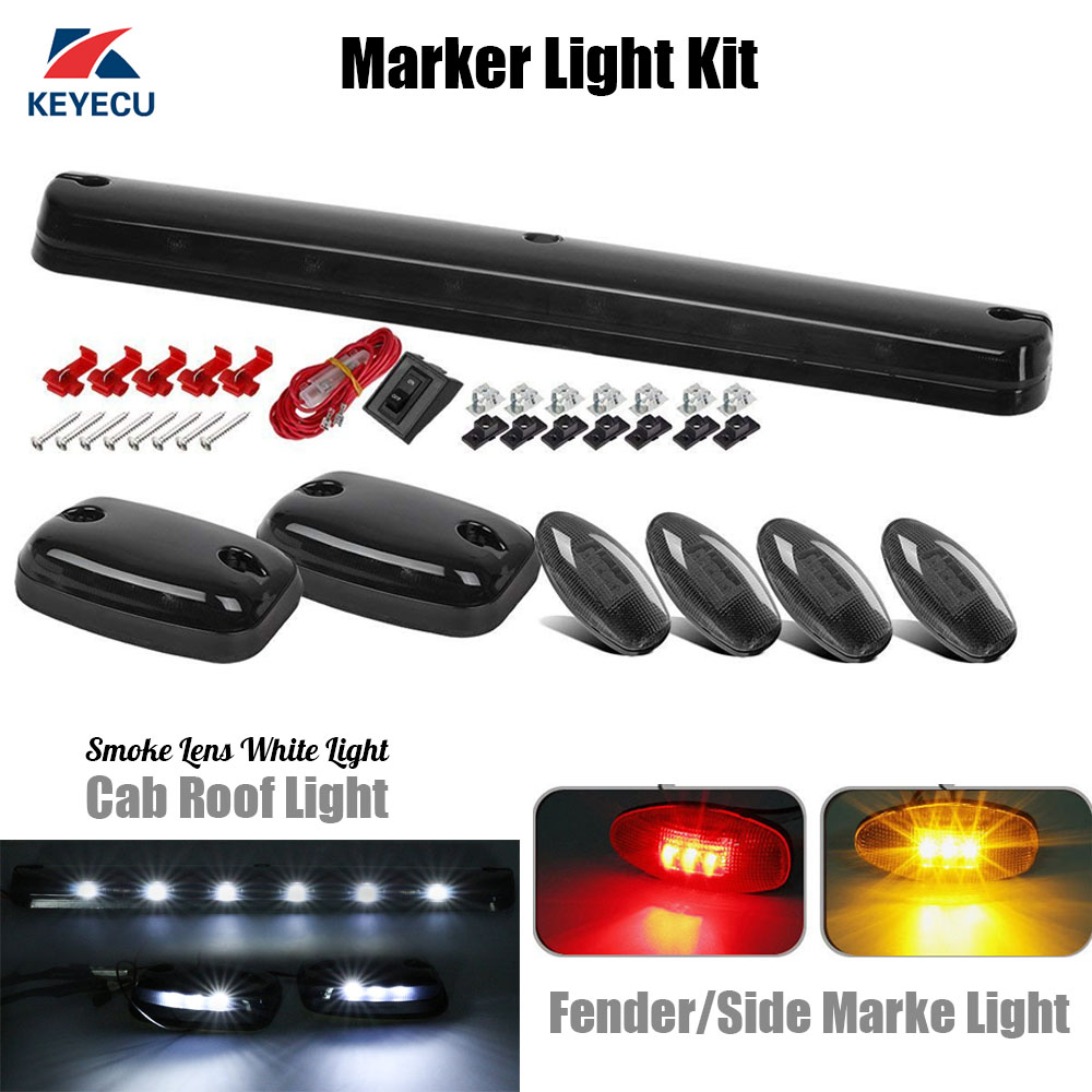 Keyecu 3x Smoke Lens White 12 LED Cab Roof Top Lights + 4x Red/Amber Fender/Side Marker lights for 2007-2014 Chevy/GMC 4pcs 2 red 2 amber hd led fender bed side marker lights smoked lens for dodge ram