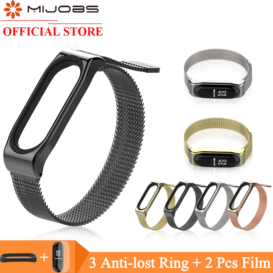 Mijobs Magnetic Strap For Xiaomi Mi Band 4 3 Smart Watch Wrist Strap For Miband 3 Strap Mi Band 4 Wristbands Stainless Bracelet