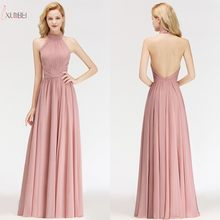 2019 Rosa In Chiffon Lunghi Abiti Da Damigella D'onore Halter Senza Maniche Wedding Party Dress Guest(China)