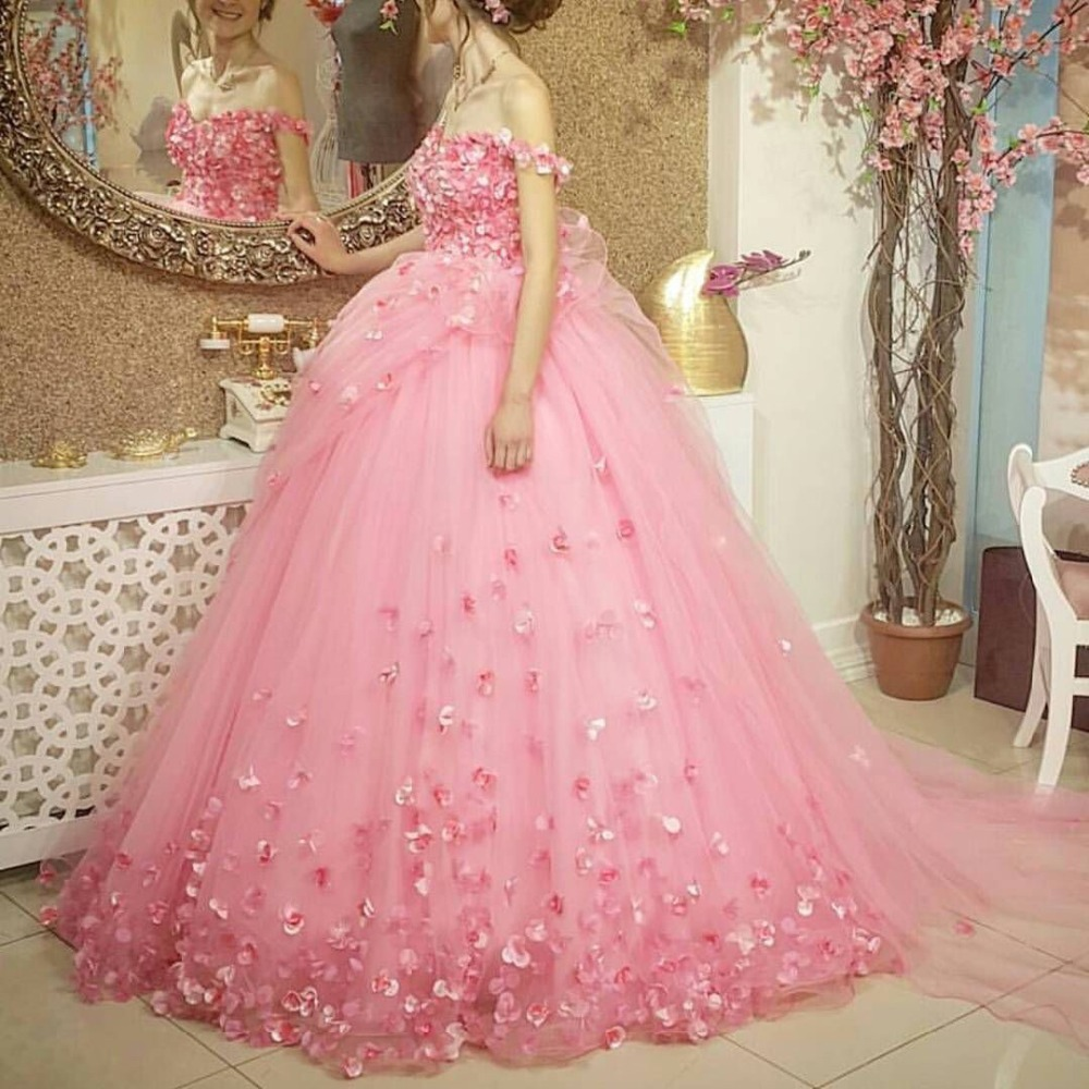 Ball Gown Pink Tulle Flower Appliques Floor Length Girls Lady ...