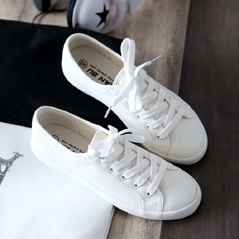 Classic Women Flats Solid White Sneakers Casual Shoes Ladies Canvas Shoes Female Flat Tr ...