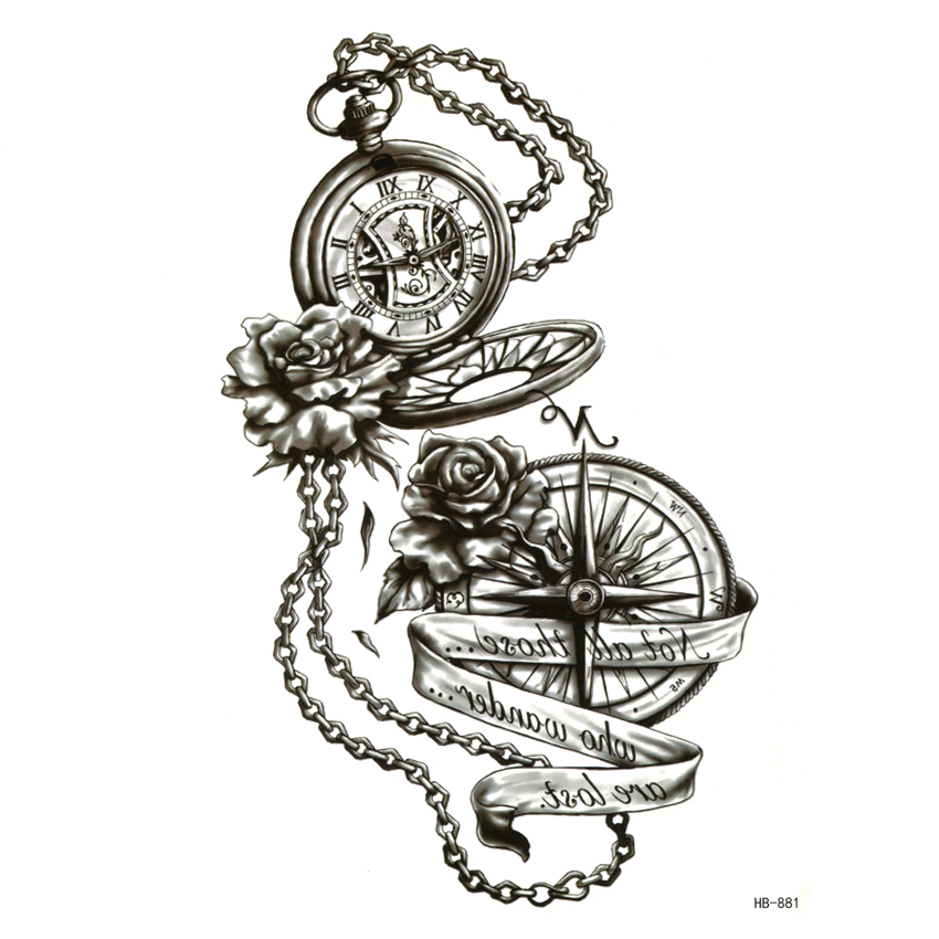 Pocket Watch Waterproof Temporary Tattoos Men Peony Henna Tatoo Rouge A Levre Maquiagem Pesca Tatuajes Temporales Stickers