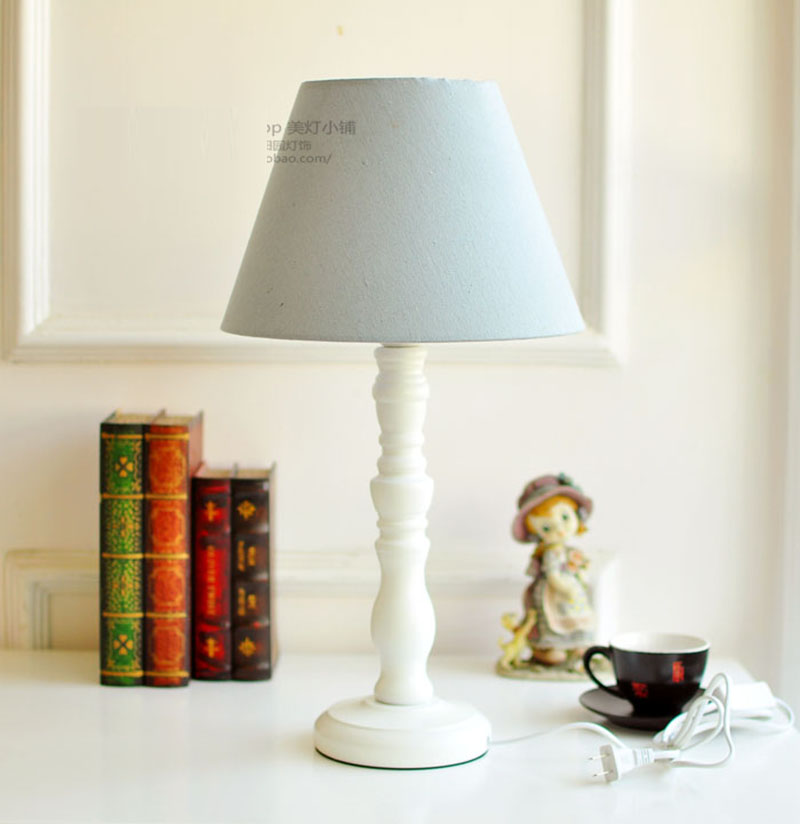 Wood Table Lamp Classical European Style Lighting With Linen Lampshade For Living Room Decoration E27