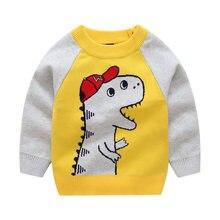 aa2ea70a816bf Biniduceton automne hiver chandail Preppy Style bébé garçons chandail  dessin animé dinosaure o-cou tricot