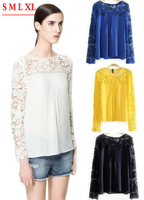 08-F Lace Lady Women's Sexy Lace Sleeve Chiffon Blouse Shirts Casual Cozy Elegant Hollow Out Knitted Shoulder XL Tops