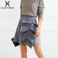 Spring Plaid Denim Ruffle A Line Skirt Women Fashion High Waist Zipper Button Stitching Mini Skirt Female Short Skirt jupe femme