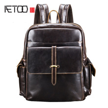 AETOO Leather Backpack male Men's Travel Bags Daypacks Black Computer Backpacks For men back pack Teenager Laptop Backpacks цена в Москве и Питере
