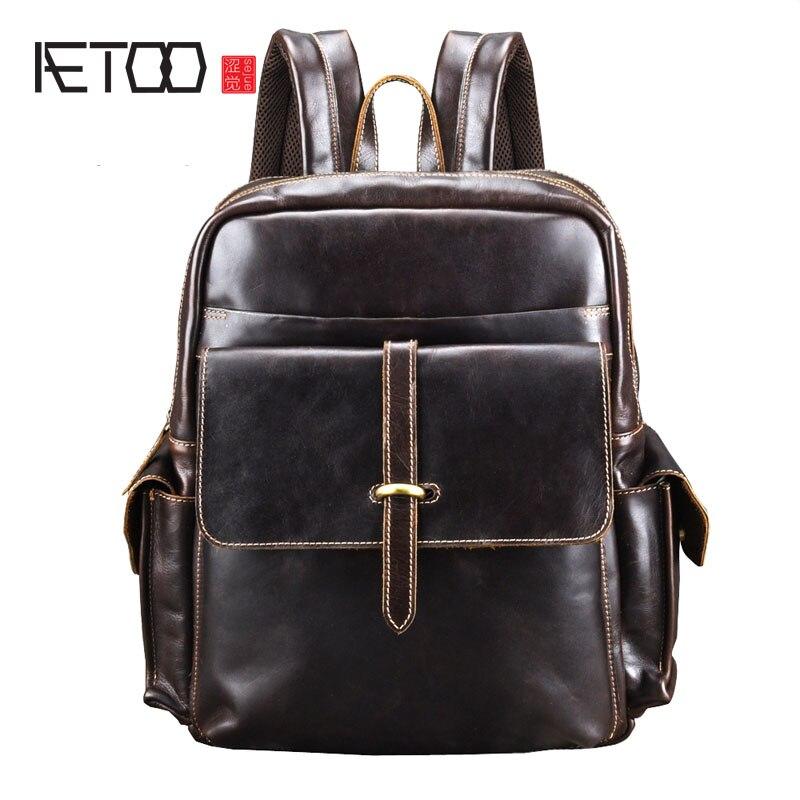 AETOO Sac À Dos En Cuir hommes sacs de voyage pour hommes Sacs À Dos Noir Ordinateur Sacs À Dos Pour hommes sac à dos Adolescent sacs à dos d'ordinateur portable