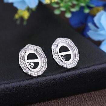 Pendientes de plata de ley 925 para mujer, pendientes de cabujón ovalados de 8x10mm, pendientes media montura aptos para lapislázuli ámbar, ajuste CZ