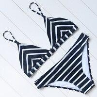 Bikini Striped Bikini Set 2018 Women Sexy Push Up Swimsuit Low Waist Swimwear Halter Bandage Swimming