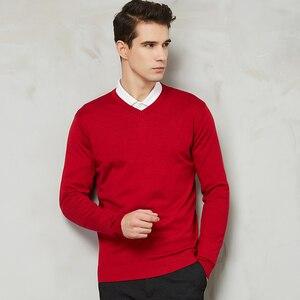 Image 3 - 14 צבע 2020 סתיו חדש גברים סרוג סוודר קשמיר סוודר מזדמן עסקים V צווארון דק Slim fit סוודרים מותג בגדים