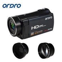 Original Ordro V7 Uso Doméstico HD 1080 P Câmera de Vídeo Digital Com Tela LCD Giratório 24MP 8x Câmera Digital Li-ion bateria