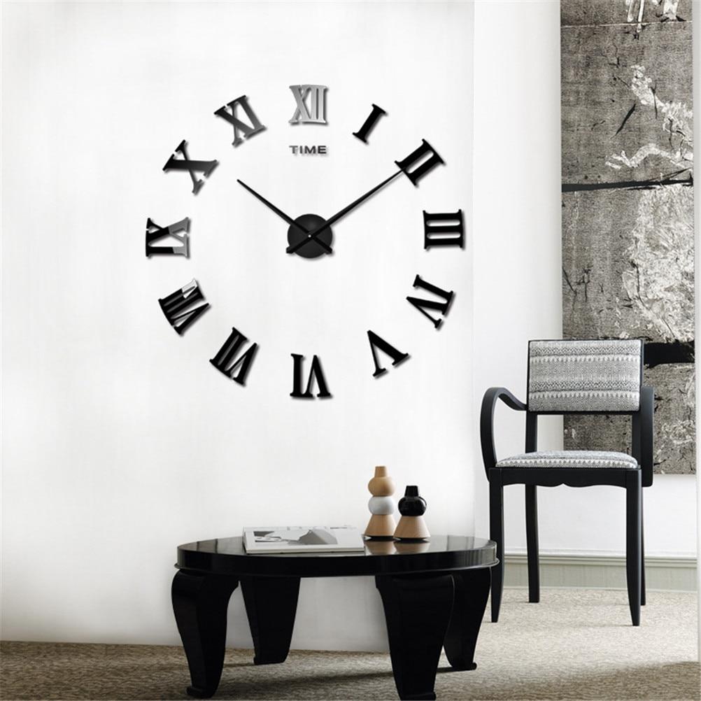 New 1 Set Home Decor Large Roman Mirror Fashion Modern Quartz clocks ...