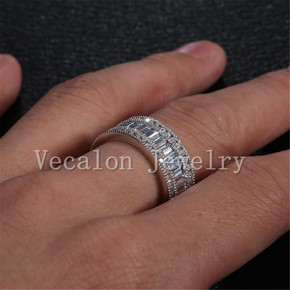 Vecalon Full Princess cut 20ct AAAAA Zircon cz หญิงงานแต่งงาน 10KT สีขาวทองหมั้นผู้หญิง Sz 5-11