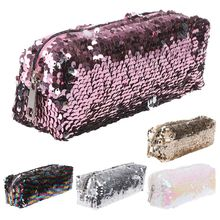 Luxury Sequin Glitter Cosmetic Makeup Bag Shiny Bling Pencil Case Zipper Pouch Box School Stationery