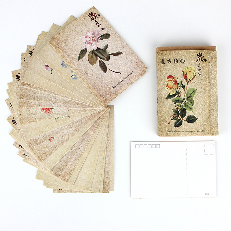 30 Sheets/Set Retro Plant Series Postcard/Greeting Card/Message Card/Birthday Letter Envelope Gift Card Two Sizes