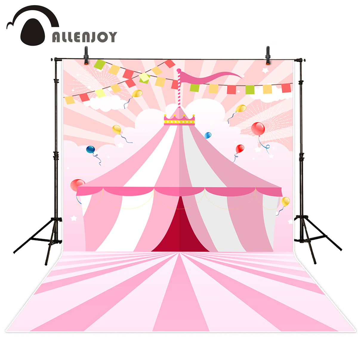 Allenjoy photography backdrop Pink Striped Banner Children's Circus Birthday new background photocall customize photo printer