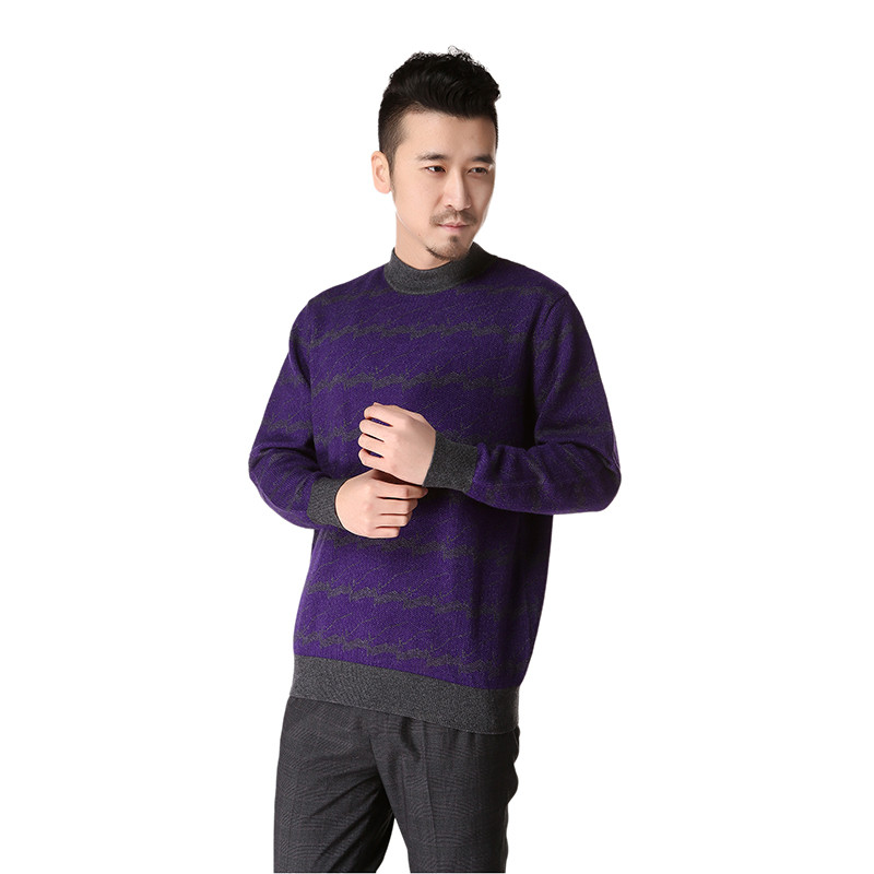 free shipping winter men thick round neck striped cashmere blended knitted pullover sweater PMR01