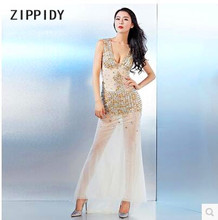 Fashion Rhinestones Ornaments Sexy V-Collar Backless Champagne Dress Nightclub Bar Party Prom Stage Show Slim Outfit Costume