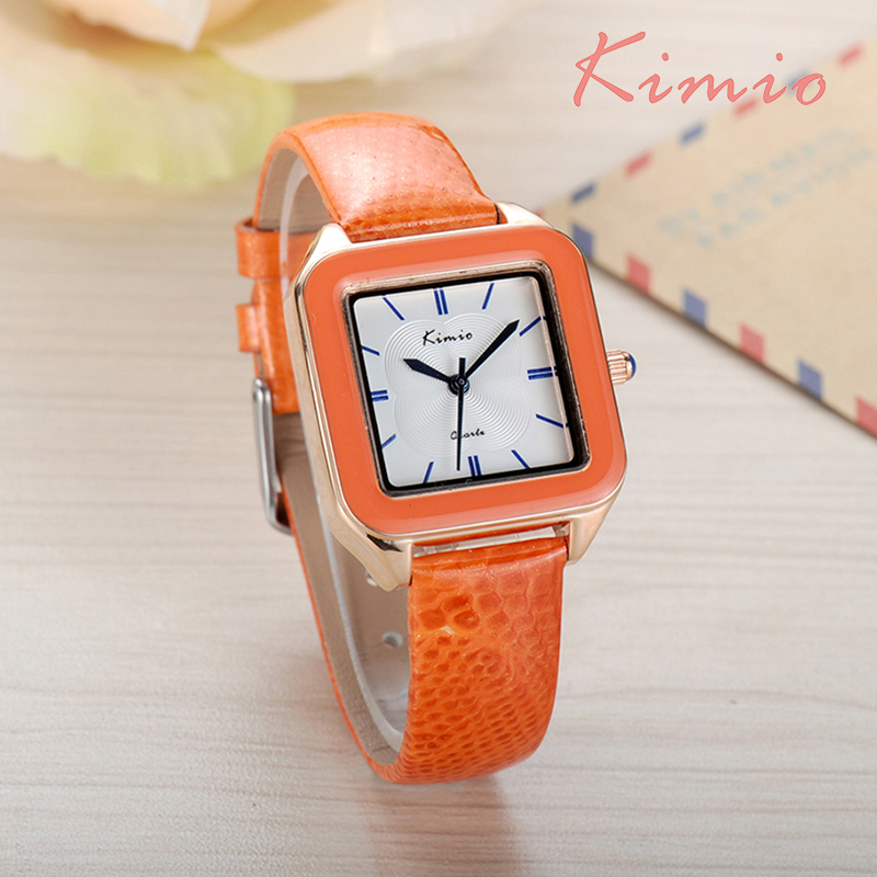 KIMIO Ladies Fashion Bright Color Square Dial Luxury Brand Women's Watches Leather Female Watches Women Wrist Watch For Women 2016 brand kimio watch women ladies luxury brand fashion casual orange genuine leather watch band square blue dial wristwatches