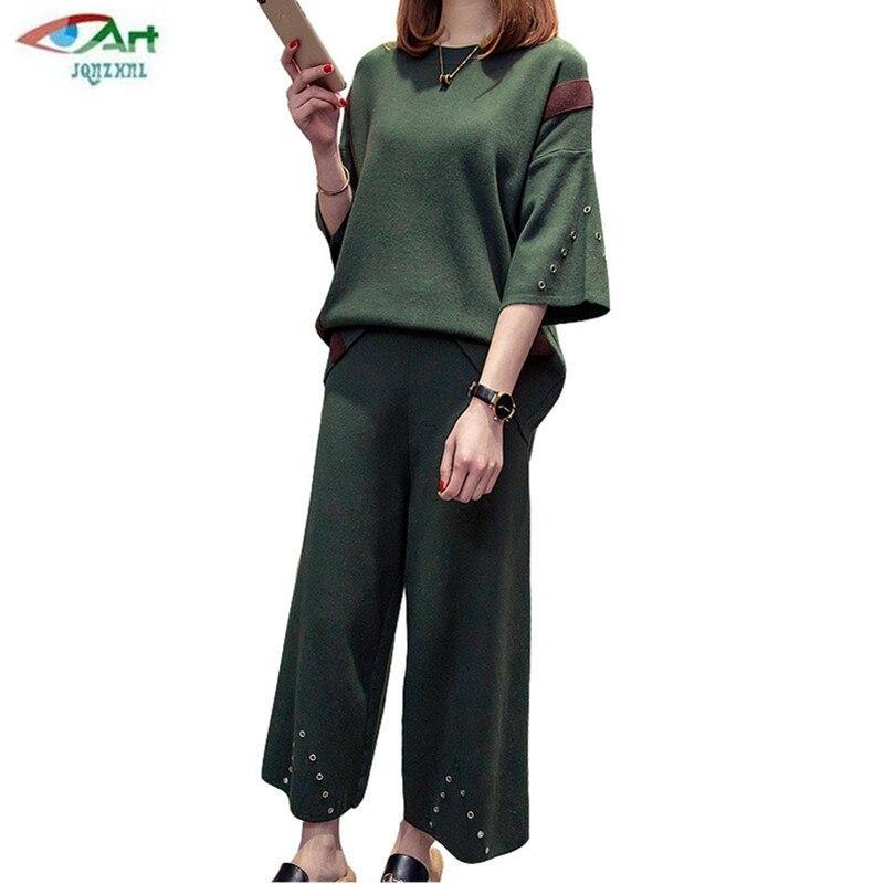 Moda Casual Pierna Trajes Conjuntos Mujeres As496 2 Pantalones Tamaño Ancha  Unidades Gran Primavera Armygreen 2018 ... 85350693fa97