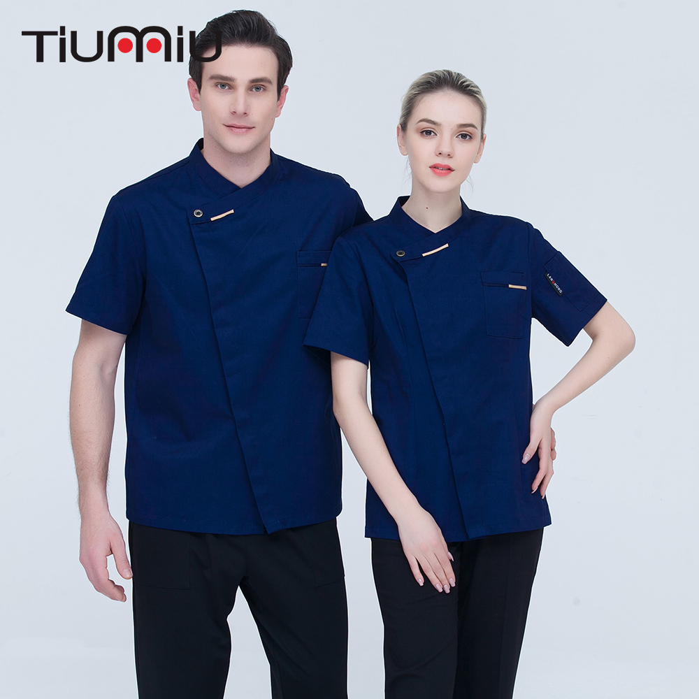 High Quality Unisex 5 Colors Chef Jacket Short-sleeves Oblique Collar Kitchen Catering Restaurant Bakery Cake Shop Work Uniforms