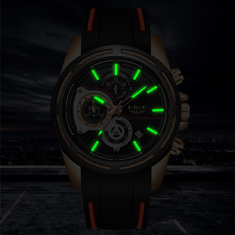 2019New LIGE Silicone Strap Men Watches Fashion Top Brand luxury Business Luminous Quartz Watch Men Casual Waterproof Date Clock Islamabad