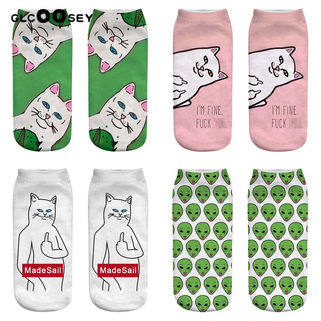 New Women Funny Socks Alien Middle Finger Cat Bitch Cat 3D Printed Socks Cotton Female Short Invisible Boat Socks Pink Summer