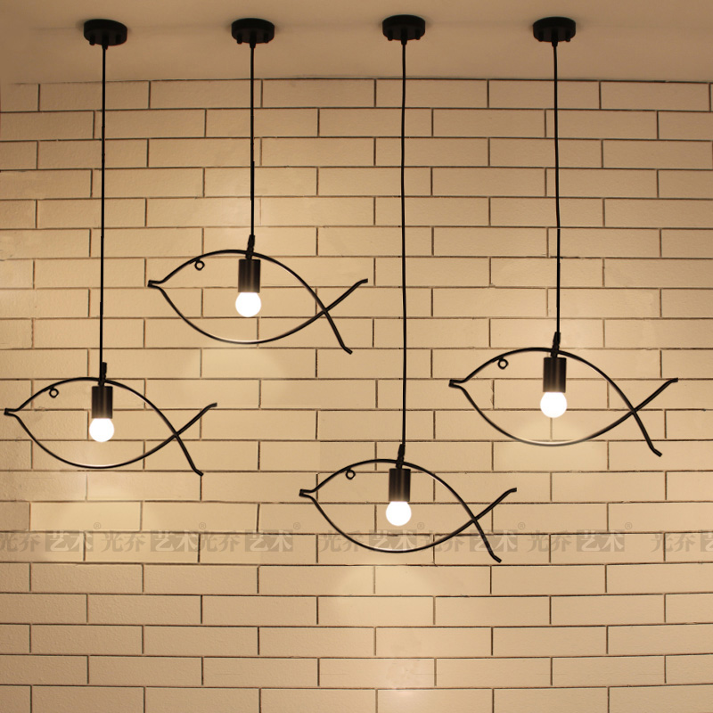 Retro Vintage Edison Industrial Fish Frame Wrought Iron Metal Pendant Lamps Lights for Cafe Bar Club Dining Room Couture Store