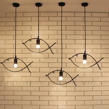 Retro Vintage Edison Industrial Marco de pescado de hierro forjado lámparas colgantes de Metal luces para cafetería Bar Club comedor tienda de alta costura