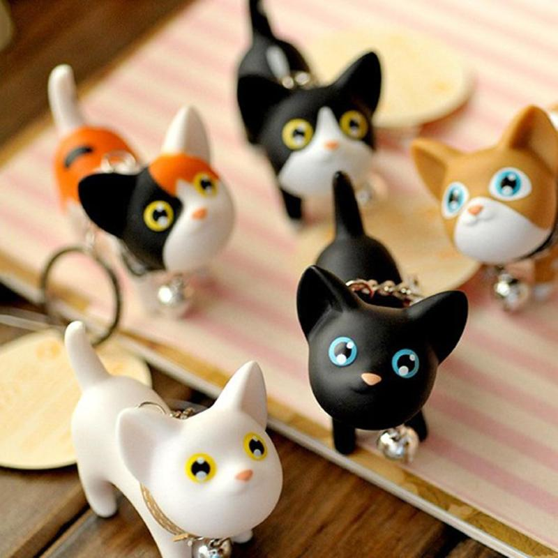 Fashion Cute Cartoon Cat Pendant Key Rings Kitten Cat Key Chain Shake Head Bell Car Bag Keychains Creative south korea stationery creative cartoon cute kitten pu wallet key bag storage material