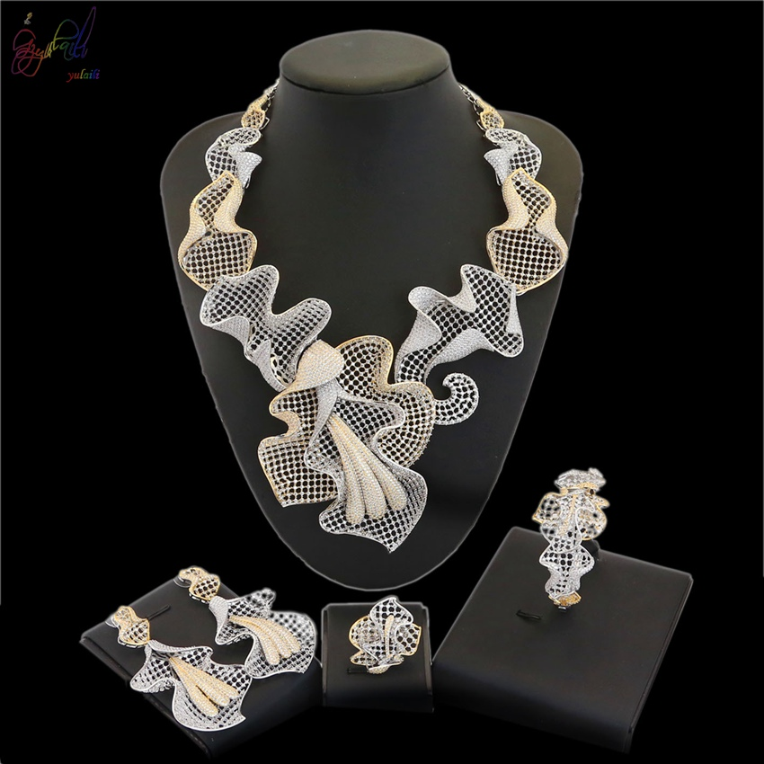 Yulaili Luxury Wedding Jewelry Set European and American Style Exquisite Crown Necklace Earrings Bracelet Ring Jewelry Four Sets cloisonne jewelry enamel round ring european and american style